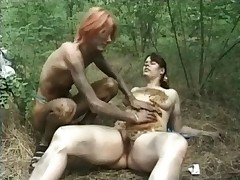Girls are playing with shit in the woods and drinking pee