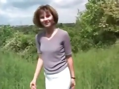 Short-haired model just defecated fresh green grass and walked away