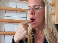 Perverted blonde secretary tasting her scat for a first time