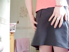 Bitch gives a cute nice upskirt and shits in her panties