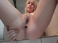 Innocent young whore defecate big load of shit with smile